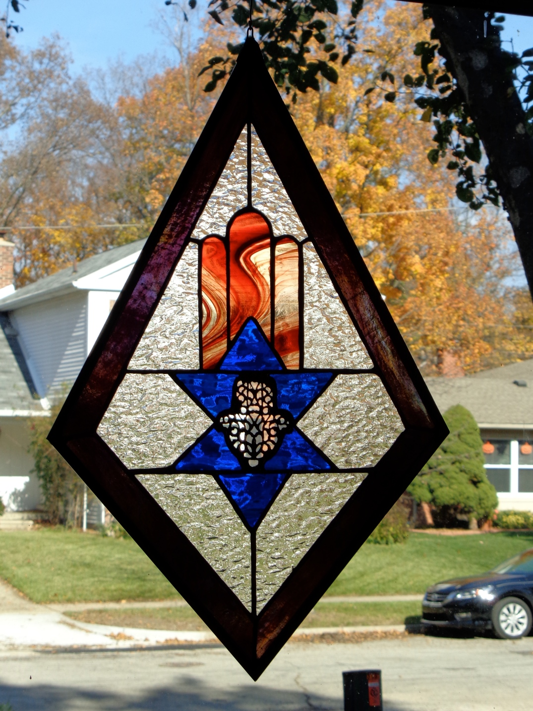 Flaming Stained Glass Hamsa