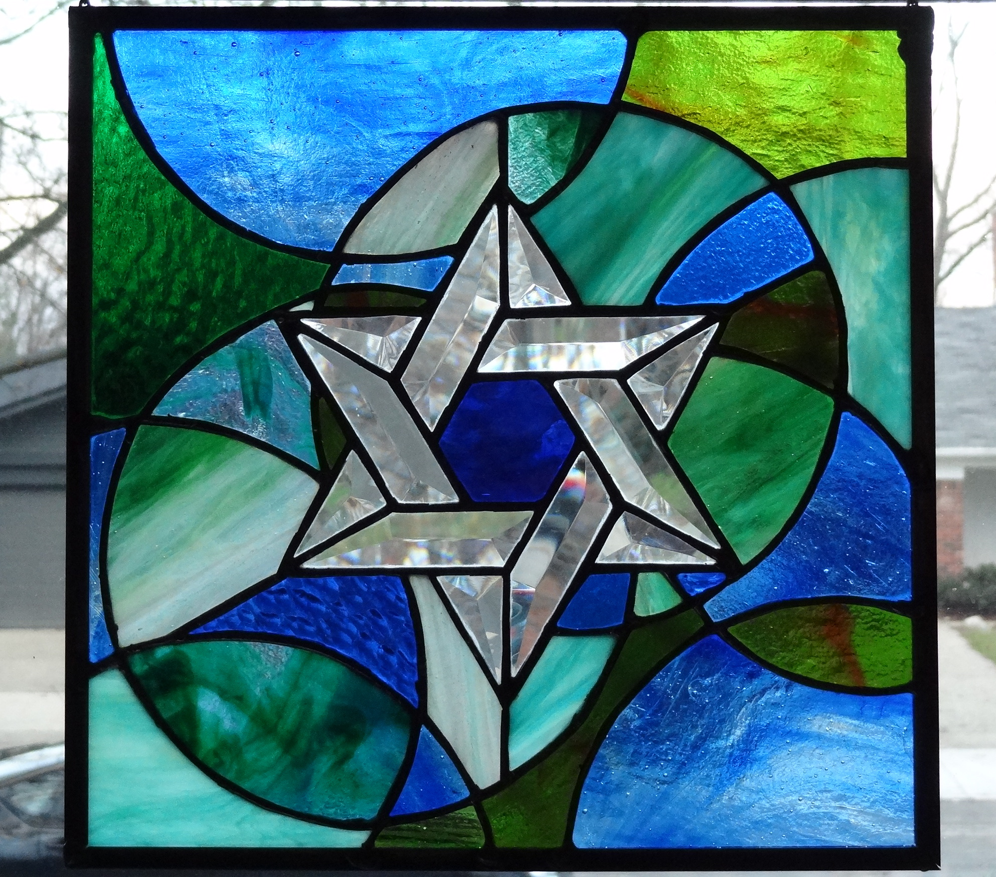 Magain David (Star of David) in Beveled and Stained Glass