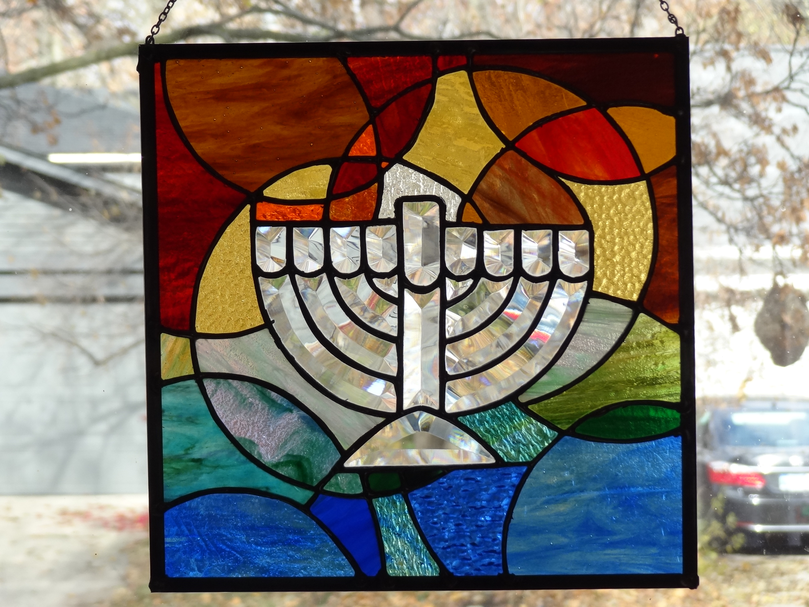 Menorah - Stained and Beveled Glass